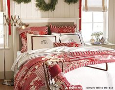 Bedroom: Wonderful Bedrooms in Christmas Decorating Themes, Wonderful Christmas Bedroom Decoration Set with Red and White Floral Bedding and Pillows Pattern and Natural Greenery Garland Wreaths Decorated on White Wood Wall