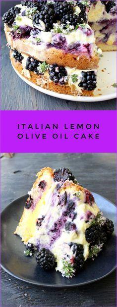 Lemon Olive Oil Cake Recipe with Berries, Whipped Mascarpone and Lemon Curd   http://CiaoFlorentina.com @CiaoFlorentina