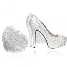 ceeb5151b724f3 Crystal Heart Bag Silver and Shoes Silver Set Crystal Shoes