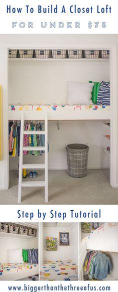 Closet Nook, Bedroom Closet Doors, Bookshelves In Bedroom, Bed In Closet, Kid Closet, Closet Bedroom, Closet Ideas, Organizing Bookshelves, Loft Closet