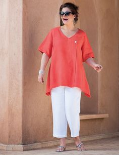 Tipton Orange Linen Top