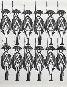 Detail from endpapers, Yankee Doodle by Dr. Richard Shackburg | Woodcut illustrations by Ed Emberley (1965)