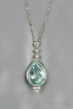 Aquamarine and Diamond Pendant bezel-set with a pear-shaped aquamarine measuring approx. x x mm full-cut diamond accents white gold mounts suspended from a platinum fancy link chain lg. Diamond Necklace Simple, Diamond Bracelets, Diamond Pendant, Gold Pendant, Key Pendant, Turquoise Pendant, Aquamarine Jewelry, Diamond Jewelry, Diamond Rings
