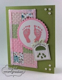 Such a cute baby card, change it to blue and it's for a boy, or choose more neutral pastels and it's for either.