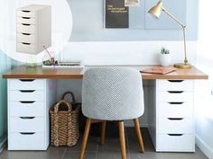 Can't find a desk big (or small) enough? Just use these two $80 drawer units and a custom-sized surf... - Used with permission of / © Rogers Media Inc. 2017