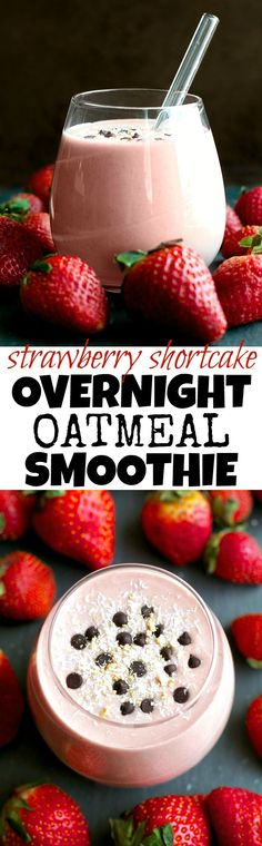 You've never had oatmeal like this before! This thick and creamy Strawberry Shortcake Overnight Oatmeal Smoothie combines that stick-to-your-ribs feeling of a bowl of oats with the silky smooth texture of a smoothie! | @andwhatelse