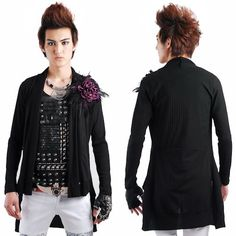 Men Black Knit Cotton Fitted Gothic Fashion Long Sweater Jackets SKU-11411035