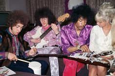 The Jimi Hendrix Experience preparing for a show backstage, 1967