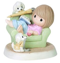 Precious Moments Girl with Two Dogs Figurine