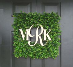 Square Monogram Boxwood Wreath, Boxwood Monogram Wreath, Outdoor Spring Wreath, Housewarming Gift, Wedding Wreath 20 INCH