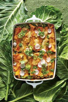 September 2016 Recipes: Creamy Chicken and Collard Green Enchiladas