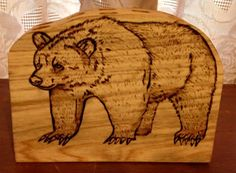 CPPH22 Wooden Cypress Pen/Pencil Holder - Woodburned Bear by CajunCountryCreat on Etsy