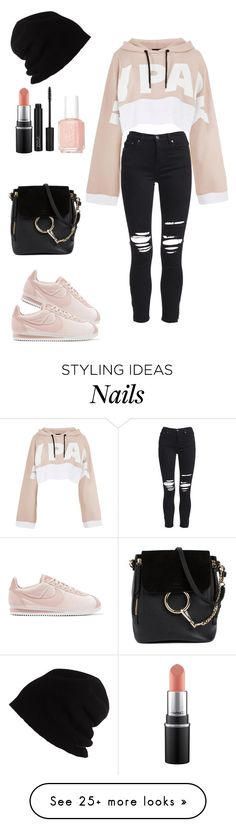 """Untitled #63"" by reem-sha223 on Polyvore featuring AMIRI, Topshop, NIKE, Chloé, ZOEVA, Essie and SCHA"