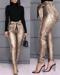 Glitter Sequins Belted Skinny Pants Style:Fashion Pattern Type:Sequins Material:Polyester Length:Long Occasion:Casual Package Note: There might be difference according to manual measurement. Please check the measu… Trend Fashion, Fashion Outfits, Style Fashion, Tomboy Outfits, Emo Outfits, Dance Outfits, Punk Fashion, Lolita Fashion, Fashion 2020