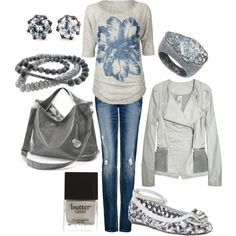 gray and blue, created by lagu.polyvore.com