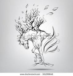 A horse with a mane of branches. Vector illustration