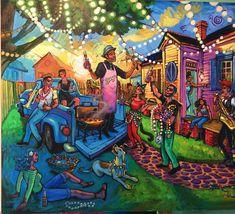 Jazz Art, African American Art, Artist Life, Mixed Media Painting, City Art, Black Art, Lovers Art, Color Inspiration, Painting & Drawing