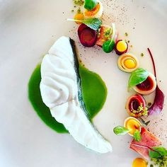 Snow white skrey from Denmark cooked sous vide, mild parsley emulsion , little vegetable garden of sautéed root vegetables and baby leafs