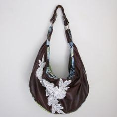 Dark Mulberry Slouchy Leather & Lace Hobo w/ Braided Strap by maelinnaea