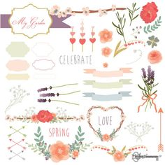 Instant Download - My Garden Spring Love Vectors: Digital Clipart Set
