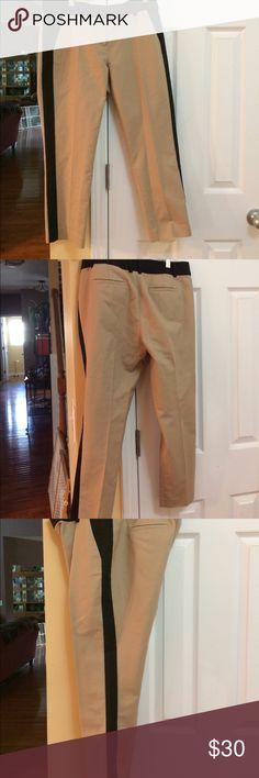 Ann Taylor ankle length pants.  10P. New w/o tags Ann Taylor cotton/spandex khaki ankle pants with black tuxedo stripe down outside of each leg. Size 10 Petite. NWOT Ann Taylor Pants Ankle & Cropped