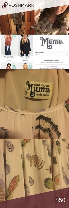 Show Me Your MuMu Tunic Beautiful print! Tan background with multicolored feathers Show Me Your MuMu Tops Tunics