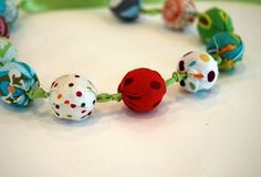 Fabric Covered Bead Necklace