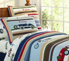 Cams room-NEW Pottery Barn Kids Tyler RACE CAR Twin QUILT + SHEETS | eBay