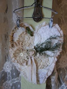 Vintage Fabric Lace Valentine Angel Cherub Heart by FSBstudio #shabbylove