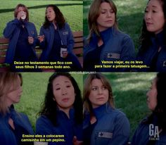 Kkkkkkkkk essa Cristina Cristina Yang, Meredith E Cristina, Grey's Anatomy, Cinema, Tv Series, Geek, Life, Inspired, Friendship Memes