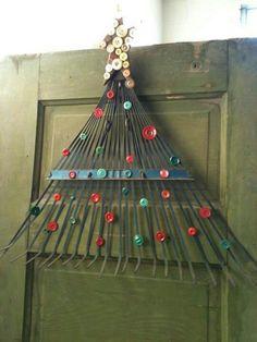 Make a cute Christmas tree out of a broken, unusable rake!