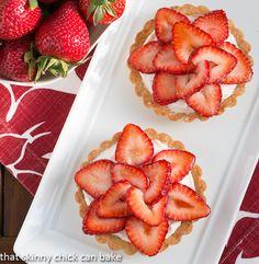 Fresh Strawberry Tartlets Recipe Desserts with flour, sugar, kosher salt, butter, shortening, ice water, cream cheese, sugar, fresh lemon juice, whipping cream, strawberries, red currant jelly