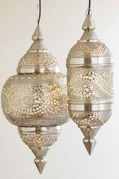 Vivaterra Silver Moroccan Hanging Lamps