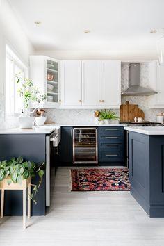 A few changes for Spring Kitchen Cabinet Colors, Kitchen Redo, Home Decor Kitchen, Kitchen Living, Kitchen Interior, New Kitchen, Home Kitchens, Kitchen Remodel, Dark Blue Kitchen Cabinets