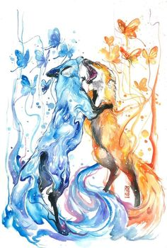 *speechless after this comment* anime animals, cool drawings, beautiful Cute Animal Drawings, Cute Drawings, Drawing Animals, Illustration, Fox Art, Fantasy Creatures, Watercolor Art, Animal Watercolour, Butterfly Watercolor