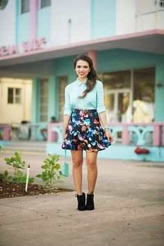 Get this look: http://lb.nu/look/6218909 More looks by Daniela Ramirez: http://lb.nu/nanysklozet Items in this look: Target Floral Skirt, Tar Mint Blouse