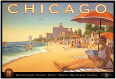 Chicago and Southern Air Print by Kerne Erickson at AllPosters.com