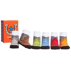 Baby boys boxed set of 'Duke's' socks by Trumpette. These cute socks are printed with a cowboy boot design and are double lined for extra warmth and comfort. They come in a range of different colours, including blue, green, orange, red, brown and grey. They have non-slip rubber grips on the soles and elasticated ankle cuffs.