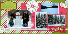"""Rewards Club Holidazzle 8"""" x 8"""" Two Page Spread Scrapbook Layout-could easily make 12x12"""
