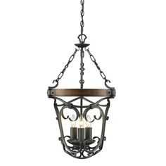 Golden Lighting 1821-3P Madera 3 Light 1 Tier Chandelier Black Iron Indoor Lighting Chandeliers