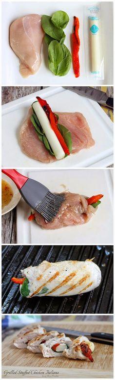 Grilled Stuffed Chicken Italiano ~ Muchtaste