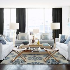 LOVE those chairs from Serena & Lily!  ----NICE LIVING ROOM LAYOUT FOR A HOME, FOR APARTMENT REMOVE ONE OF THE COUCHES...WITH THE TWO ACCENT CHAIRS IN THE SAME POSITION, OR ONE ON EACH SIDE OF THE COUCH