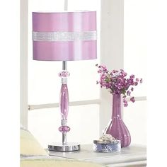Signature Design By Ashley - Nyssa Table Lamp Purple Table Lamp, Metal Table Lamps, Queen Metal Bed, Fancy Braids, Contemporary Table Lamps, Unique Lamps, Metal Beds, Purple Fashion, Fabric Shades