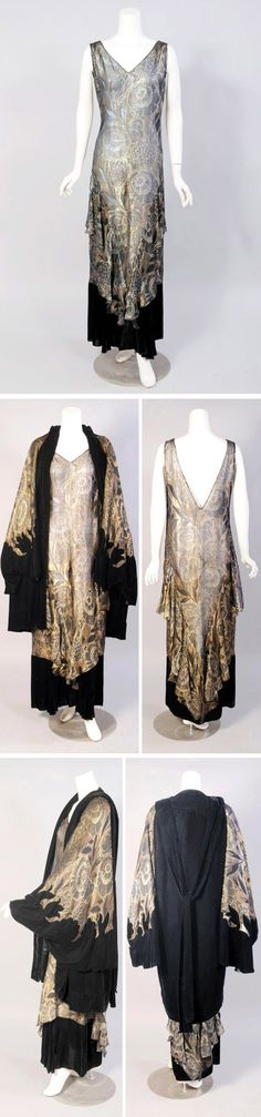 1920s Gold lamé orientalist dress and coat ensemble, O'Neill's, Baltimore. Gold lamé dress in floral pattern with deep V neckline in back. Lamé flounces from hip to hemline and wide band of black velvet at bottom. Slips on over the head, with snaps on left side. Matching evening coat is black silk velvet with dramatic cape sleeves trimmed with the gold lamé. Via Katy Kane Vintage