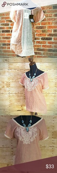"""1 DAY SALE-FIRM🚨NWT LOVESTITCH S M Boho Hi Lo Top 1 DAY SALE. PRICE FIRM unless bundled! Absolutely gorgeous back Illusion panel on this top, open through the loose crochet-type material. Relaxed hi-low silhouette. Embroidered design. Stunning with skinny jeans and booties. Looks great with turquoise accessories. Color is light coral and ivory, IMO. 50% Cotton/50% Polyester. Approximate flat measurements : Small Bust 20.5"""" Waist 20"""" Length front 25"""" back 28"""". Medium Bust 21"""" Waist 20""""…"""