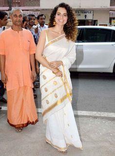 #Bollywood Style Inspiration: Ways To Wear Kerala Sarees For Onam Kerala Saree Blouse, Indian Sarees, Pink Saree Silk, White Saree, Cotton Saree, Indian Designer Outfits, Indian Outfits, Bollywood Saree, Bollywood Wedding