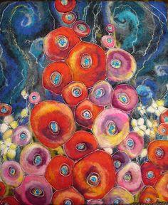 """Felt Picture """"Flowers"""", by Christina Horbatiuk of HappyColorfulFelting on Etsy"""