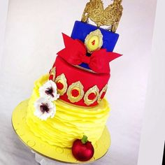 Amazing cake at a Snow White birthday party! See more party planning ideas at CatchMyParty.com!