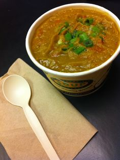San Francisco Soup Company split pea soup. This is AMAZING with Tapatio hot…