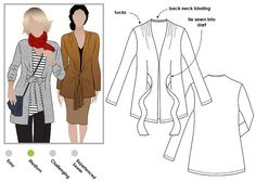 Terry Tie / Cardigan Sewing Pattern - Sizes 16, 18 & 20 - Women's cardigan PDF sewing pattern by Style Arc